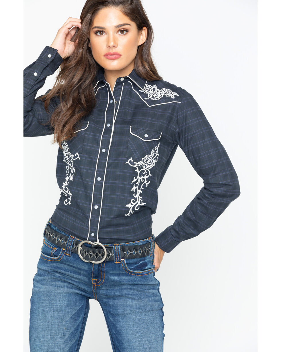 Panhandle Women's Barrington Plaid Embroidered Rodeo Snap Shirt , Navy, hi-res