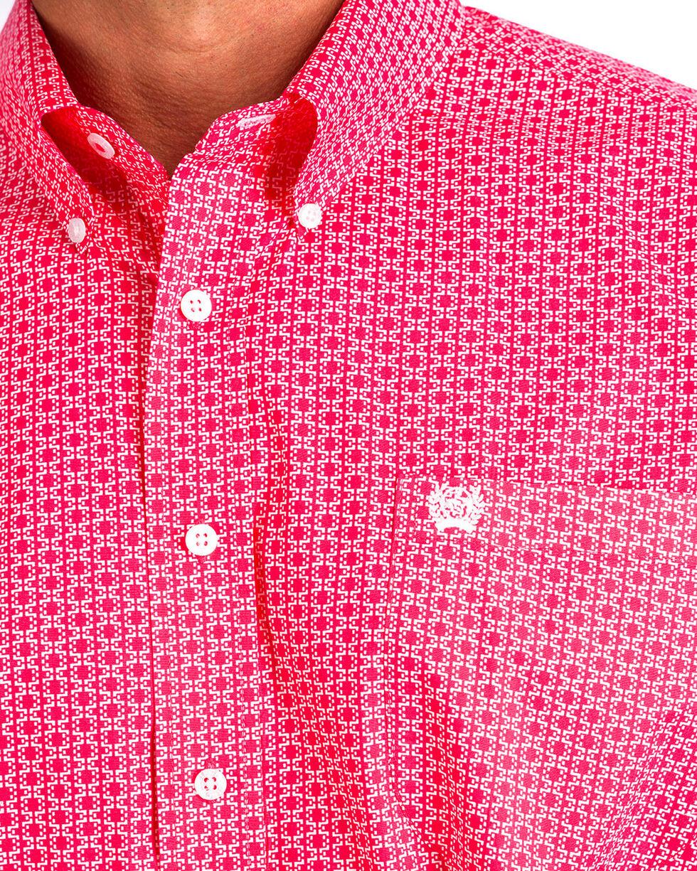 Cinch Men's Pink Print Short Sleeve Button Down Shirt, Pink, hi-res
