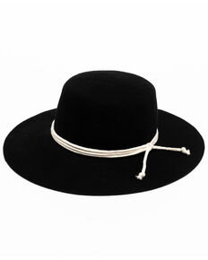 Shyanne Women's Black Flat Top Felt Western Hat , Black, hi-res