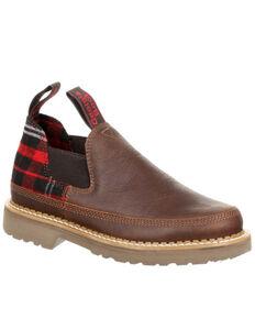 Georgia Boot Women's Giant Plaid Romeo Shoes - Round Toe, Chocolate, hi-res