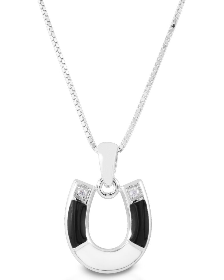 Kelly Herd Women's Black & White Horseshoe Necklace, Silver, hi-res