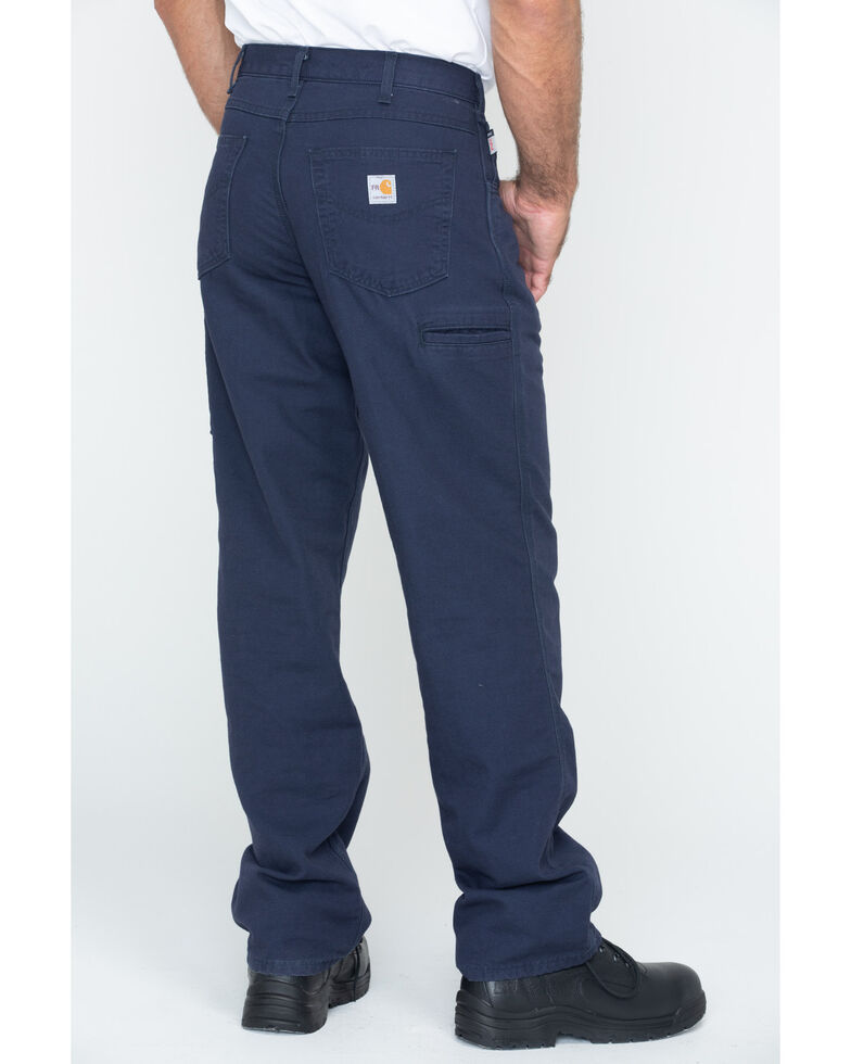 Carhartt Men's Flame-Resistant Relaxed Fit Work Pants, Navy, hi-res