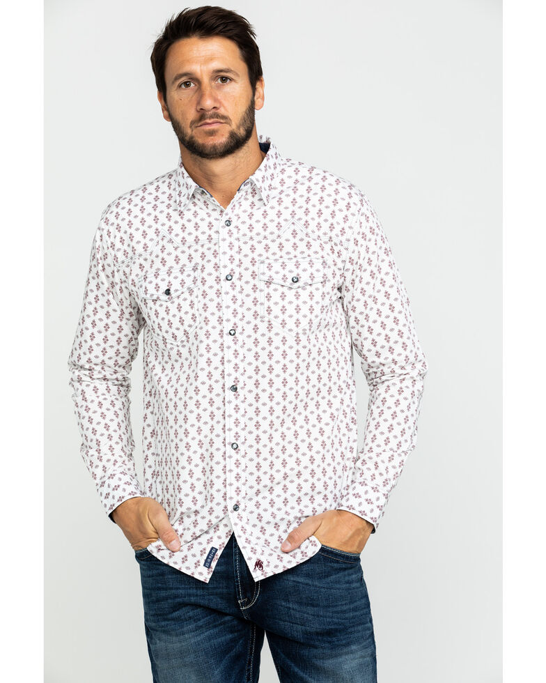 Moonshine Spirit Men's Excalibur Geo Print Long Sleeve Western Shirt , White, hi-res