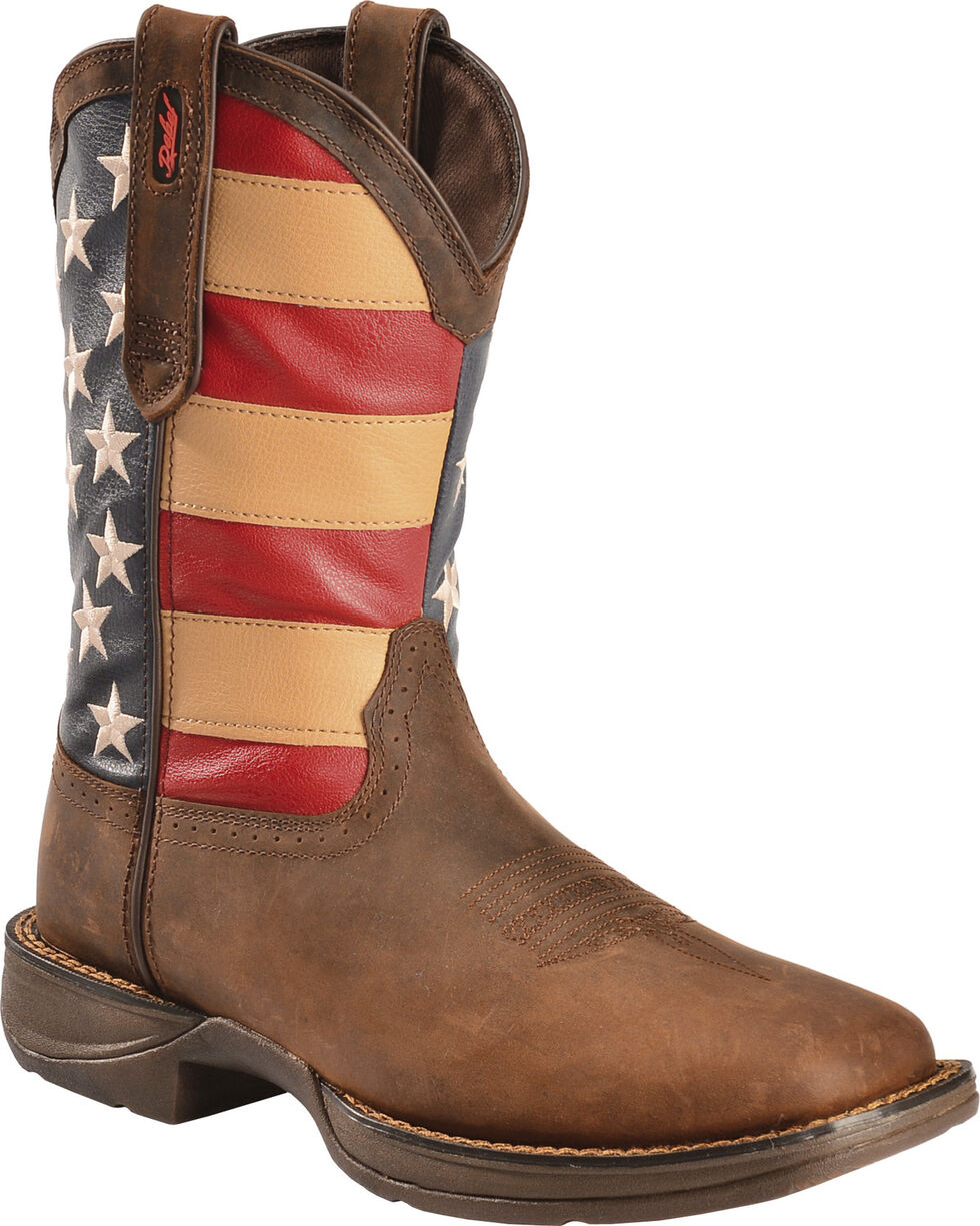Durango Men's Patriotic Square Toe Western Boots, Brown, hi-res