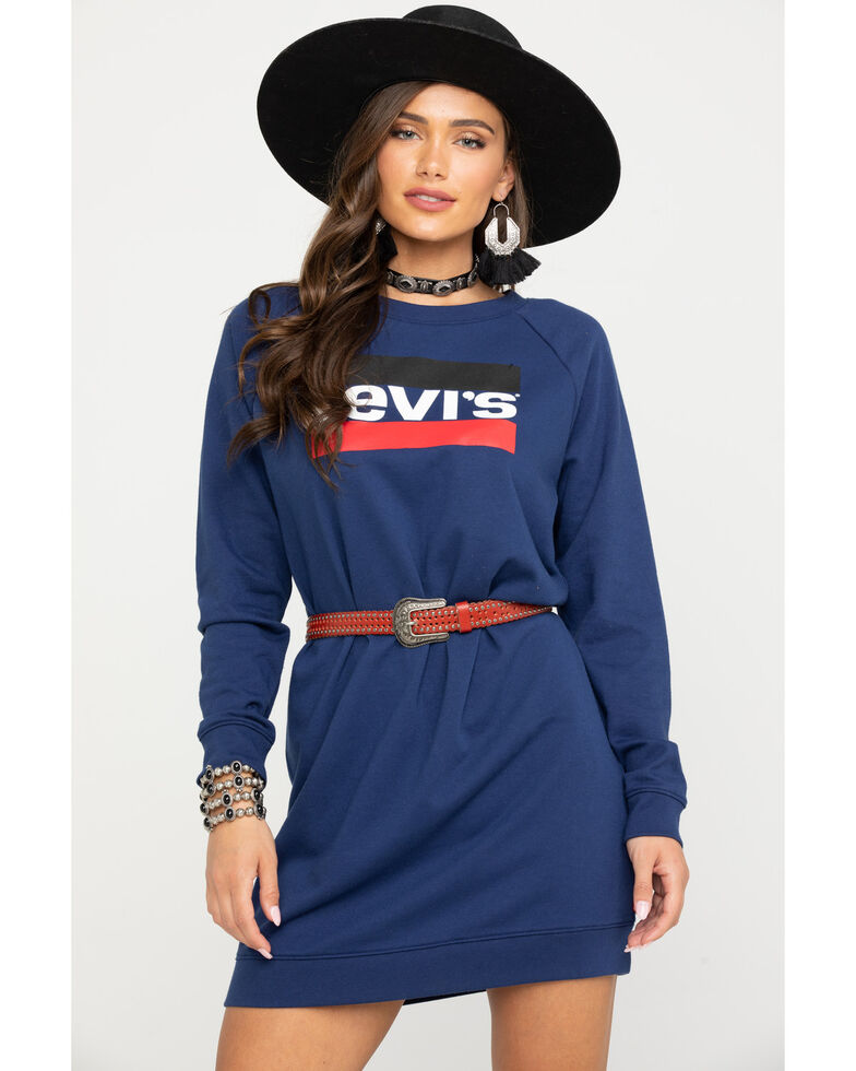 Levi's Women's Navy Logo Crew Sweatshirt Dress, Blue, hi-res