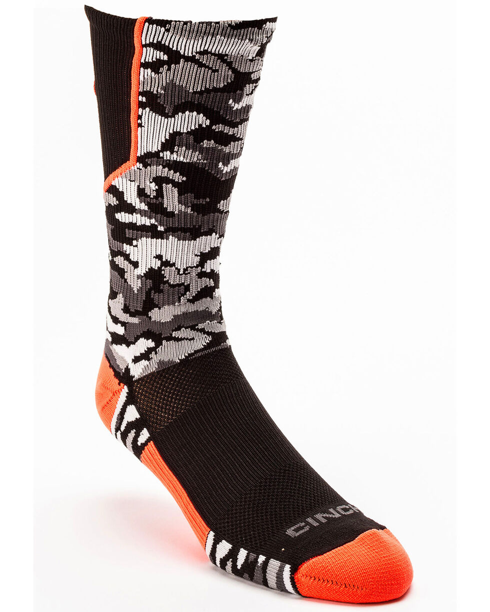 Cinch Men's Camo Crew Socks, Black/orange, hi-res