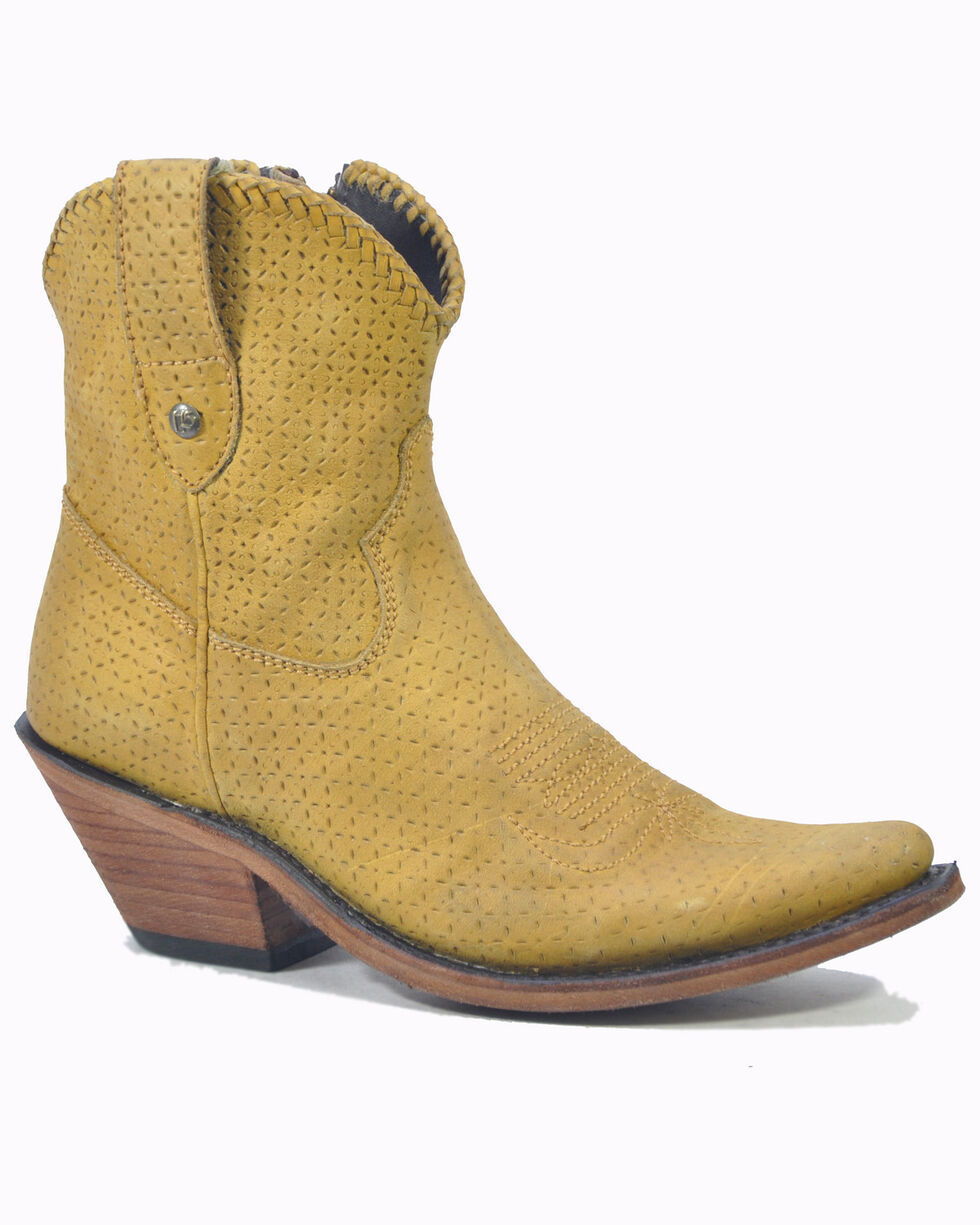 Liberty Black Women's Lucas Lion Mustard Western Booties - Pointed Toe, Yellow, hi-res