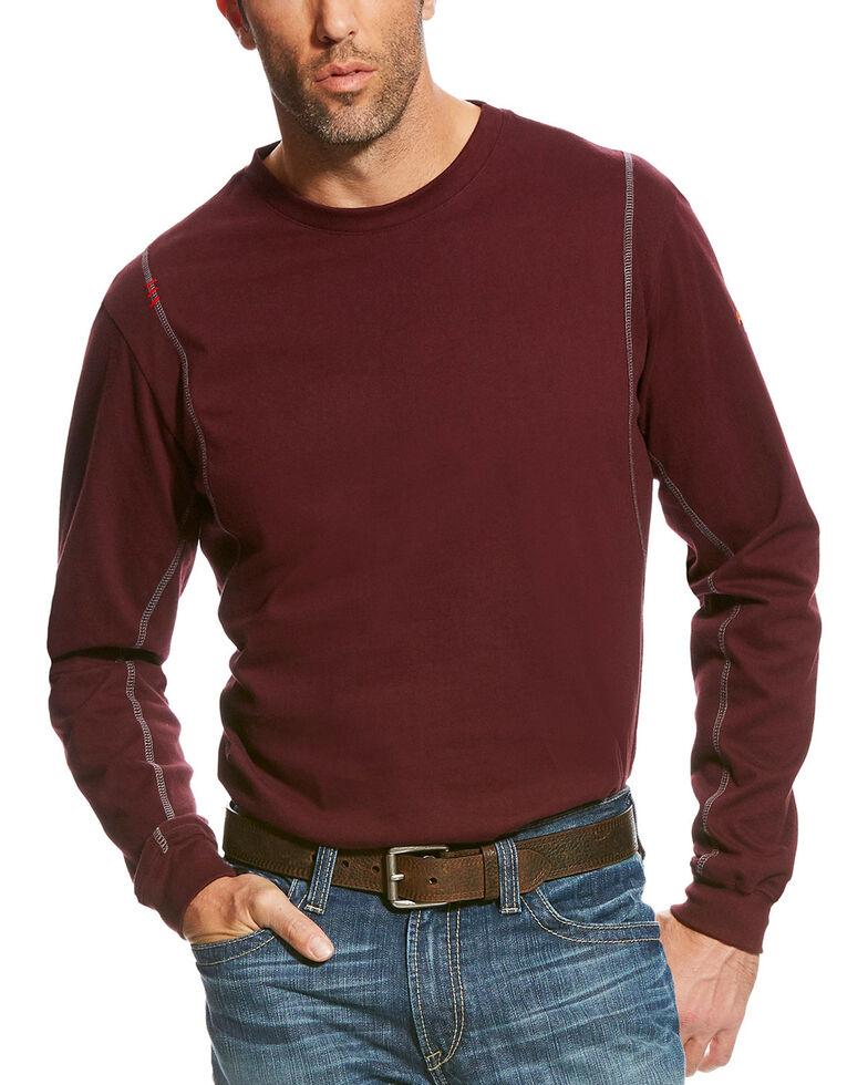 Ariat Men's Burgundy FR AC Crew Long Sleeve Work Shirt , Burgundy, hi-res