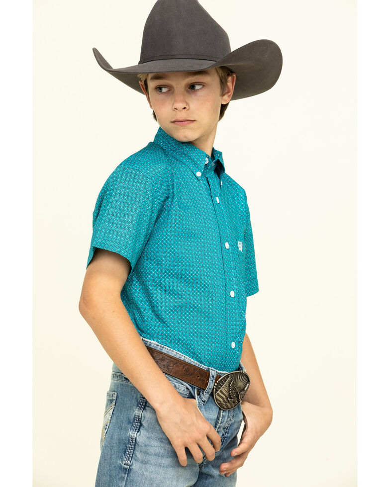 Cinch Boys' Turquoise Geo Print Short Sleeve Western Shirt , Turquoise, hi-res