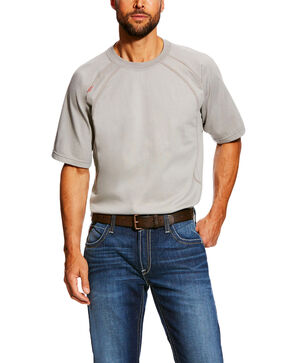 Ariat Men's Silver Fox FR Short Sleeve Crew Work Shirt , Grey, hi-res