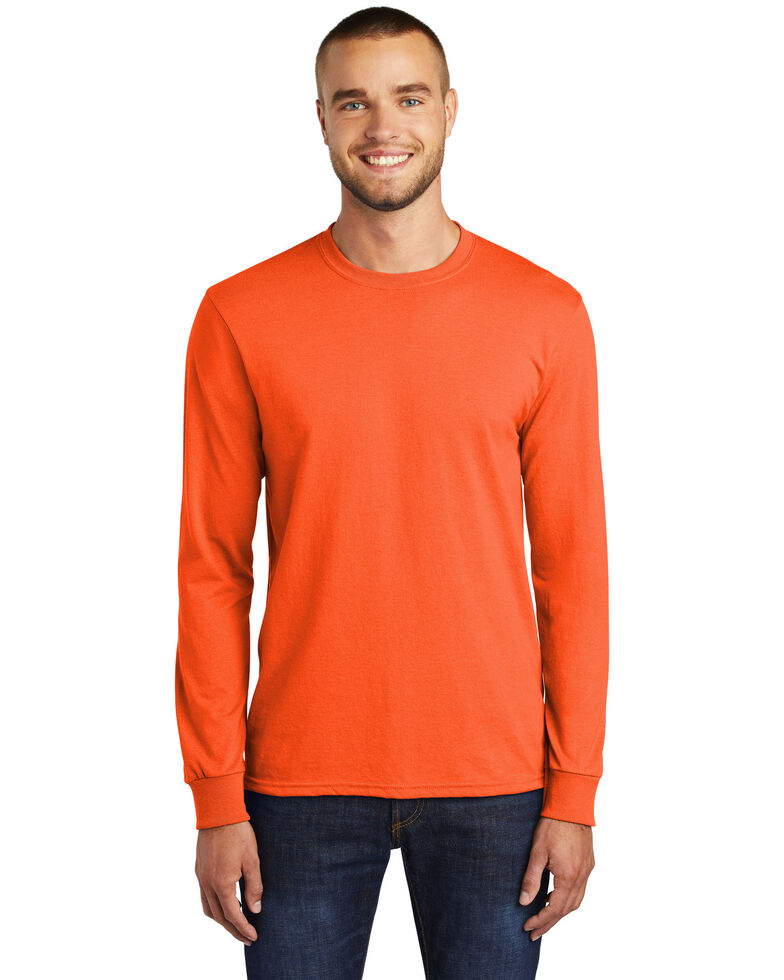 Port & Company Men's Safety Orange Core Blend Long Sleeve Work T-Shirt - Big , Orange, hi-res