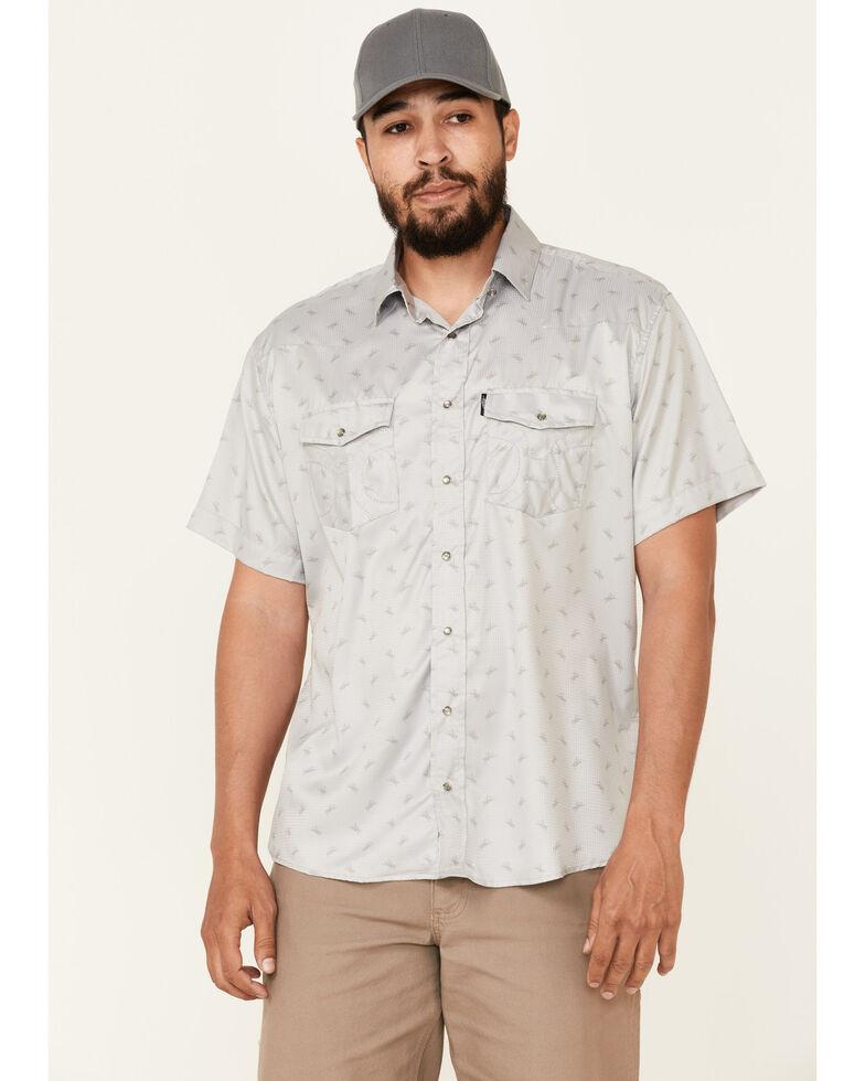 HOOey Men's Light Grey Print Habitat Sol Short Sleeve Snap Western Shirt , Grey, hi-res