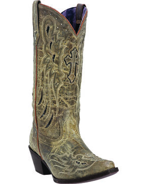 Laredo Women's Cross Wing Fashion Boots, Taupe, hi-res