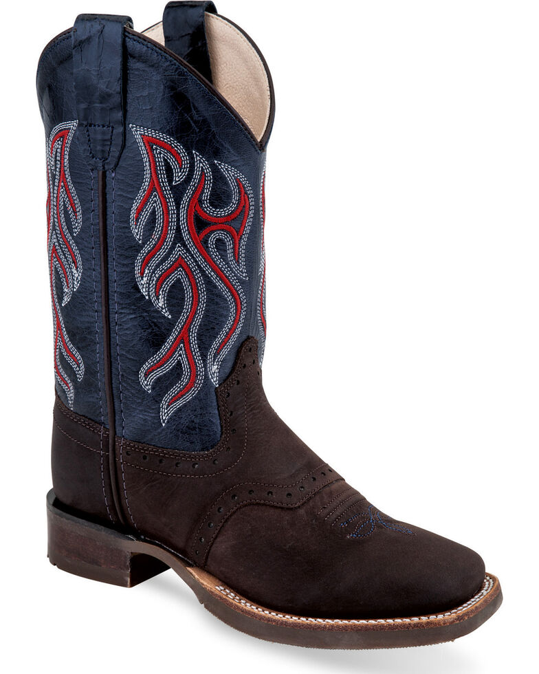 Old West Boys' Brown/Blue Embroidered Cowboy Boots - Square Toe, Brown, hi-res