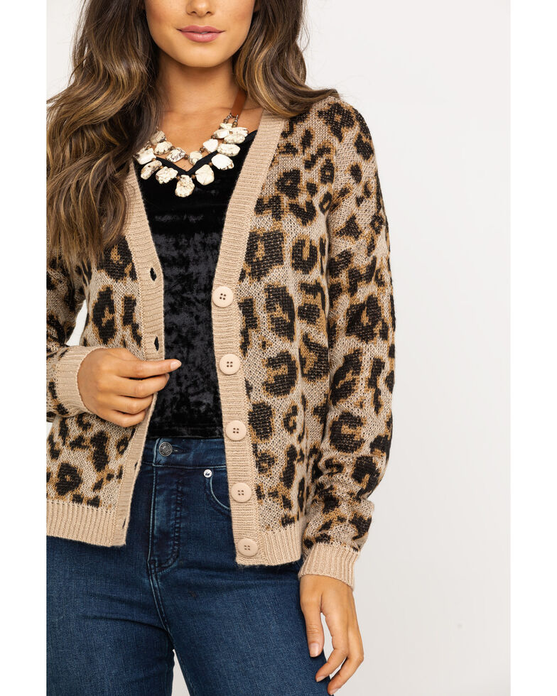 Others Follow Women's Kitty Cardigan , Leopard, hi-res
