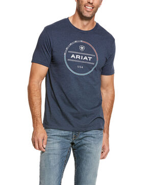 Ariat Men's Logo Wire Graphic T-Shirt , Navy, hi-res