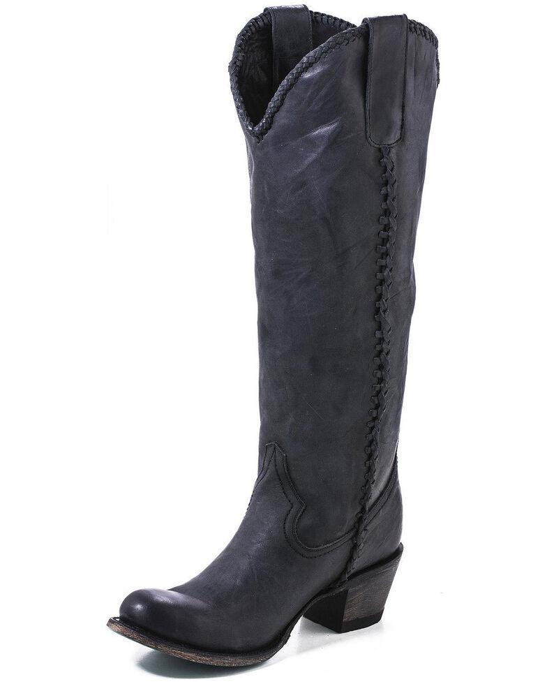 Lane Women's Plain Jane Distressed Round Toe Western Boots, Black, hi-res
