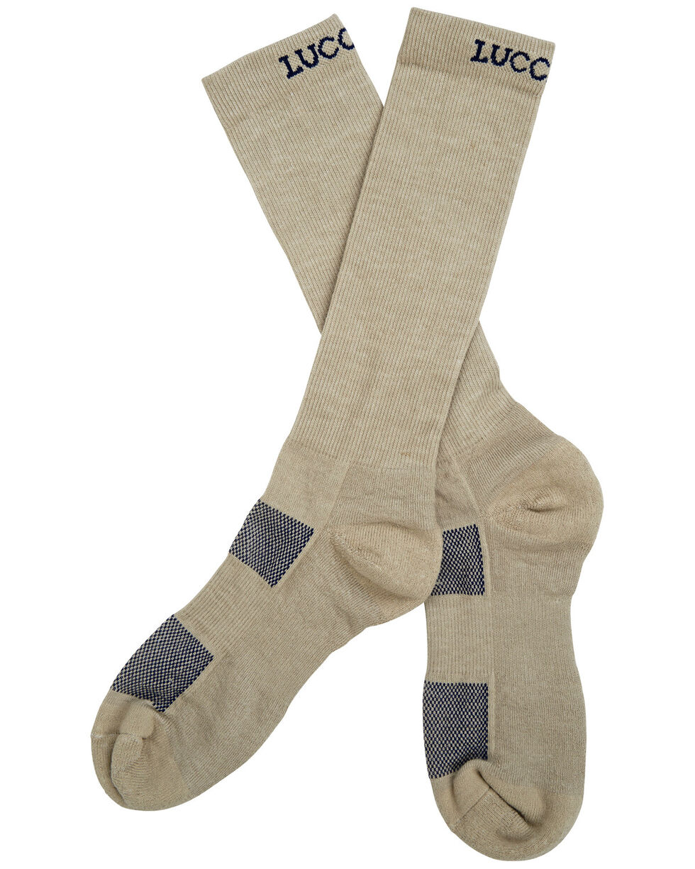 Lucchese Men's Khaki Multi-Blend Socks , Beige/khaki, hi-res