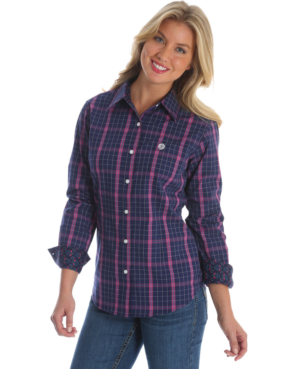Wrangler Women's Navy George Strait Plaid Western Shirt , Multi, hi-res