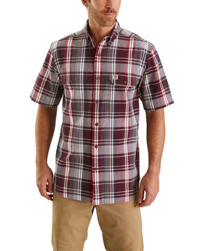 Carhartt Men's Rugged Flex Rigby Short Sleeve Plaid Work Shirt - Big , Red, hi-res