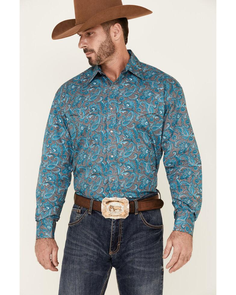 Stetson Men's Silver Springs Large Paisley Print Long Sleeve Snap Western Shirt , Blue, hi-res