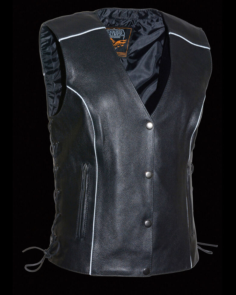 Milwaukee Leather Women's Black Side Lace Conceal Carry Vest , Black, hi-res