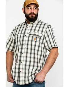 Carhartt Men's Plaid Rugged Flex Rigby Short Sleeve Work Shirt - Big , Grey, hi-res