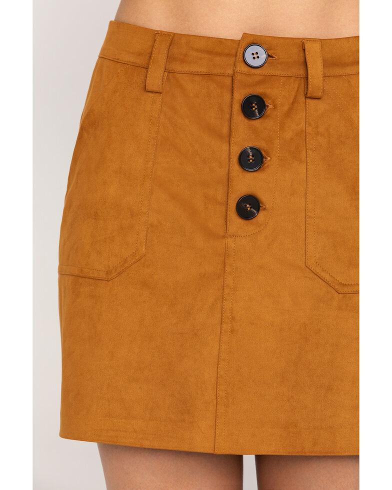 Shyanne Women's Tan Faux Suede Mini Skirt, Pecan, hi-res
