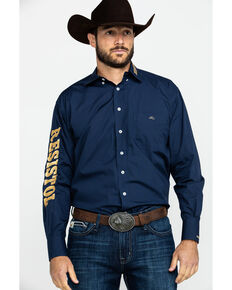Resistol Men's Calvary Solid Logo Long Sleeve Western Shirt , Navy, hi-res