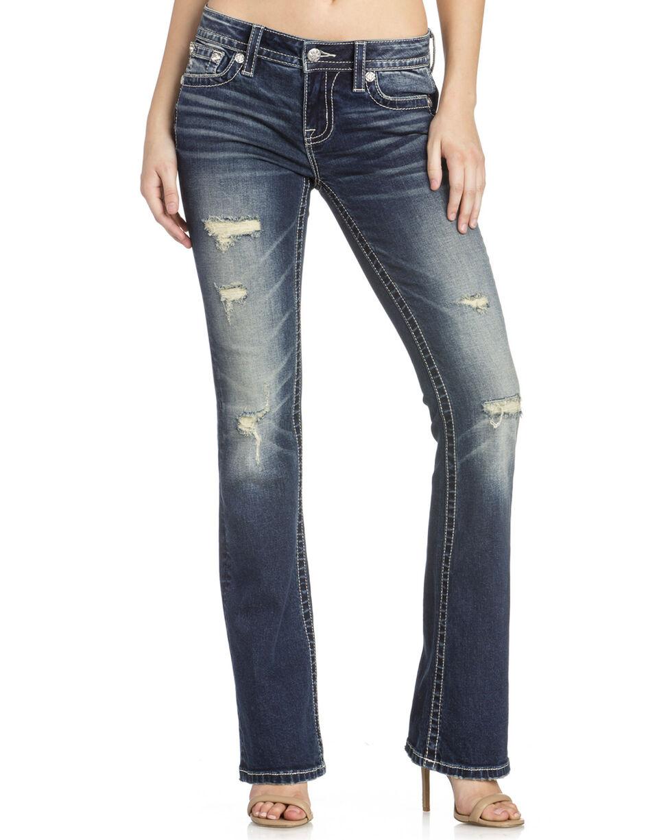 Miss Me Women's Distressed Pocket Boot Cut Jeans, Indigo, hi-res