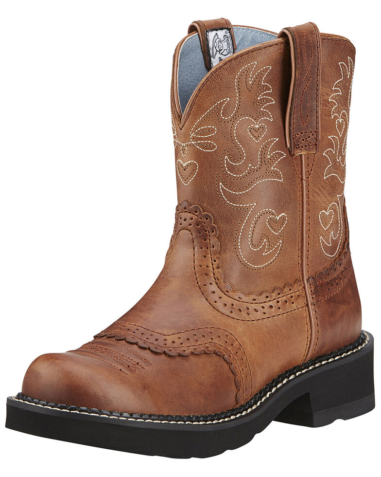 """Ariat Women's Fatbaby Scalloped 8"""" Western Boots, Saddle Brown, hi-res"""