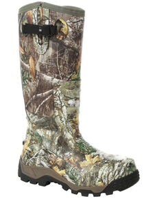 Rocky Men's Camo Rubber Snake Boots - Round Toe, Bark, hi-res