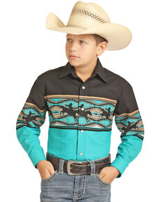 Panhandle Boys' Multi Aztec Scenic Border Print Long Sleeve Western Shirt , Multi, hi-res