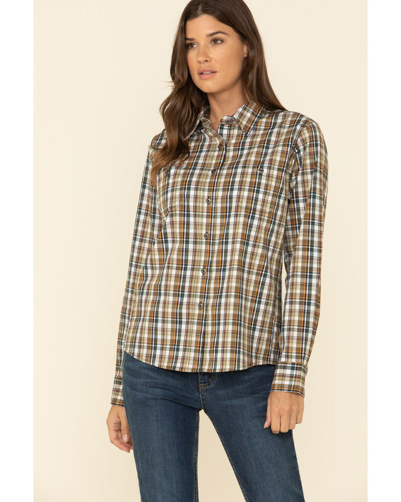 Wrangler Riggs Women's Brown Plaid Long Sleeve Button-Down Work Shirt, Brown, hi-res