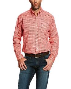Ariat Men's Dowers Geo Print Stretch Long Sleeve Western Shirt , Pink, hi-res