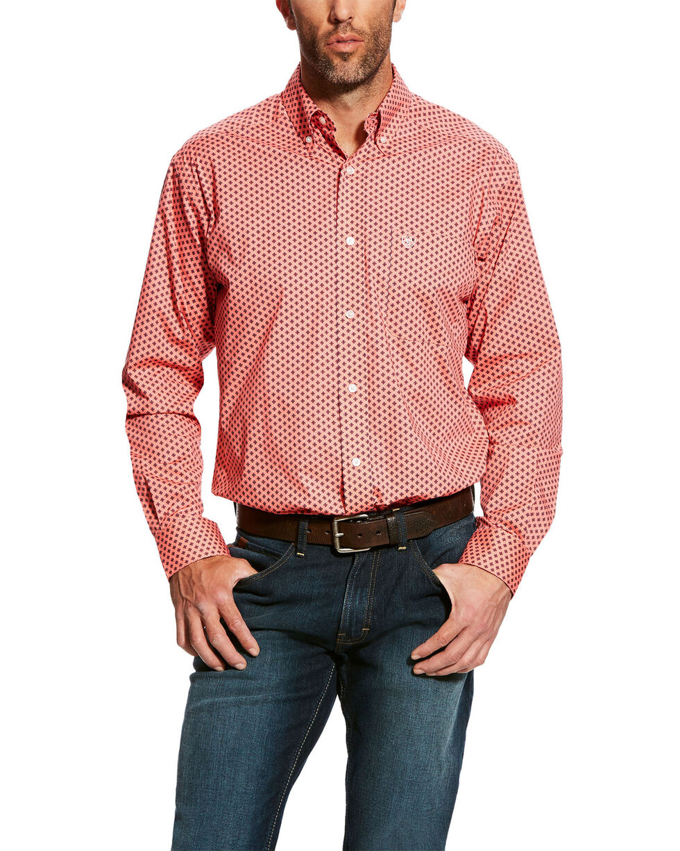 Ariat Men's Dowers Geo Print Stretch Long Sleeve Western Shirt , Pink, hi-res