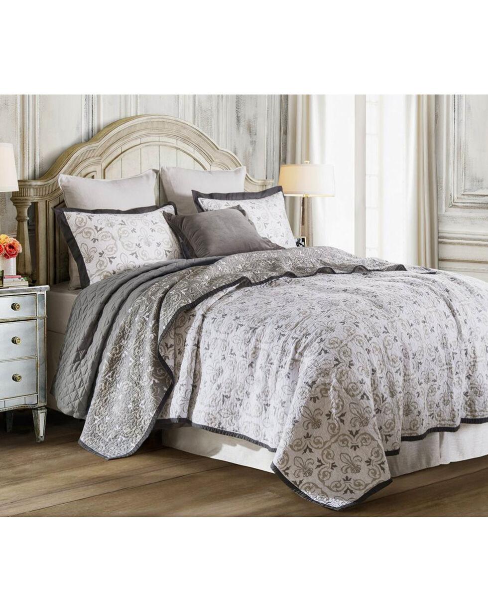 HiEnd Accents 3-Piece King Fleur De Lis Bedding Set, White, hi-res