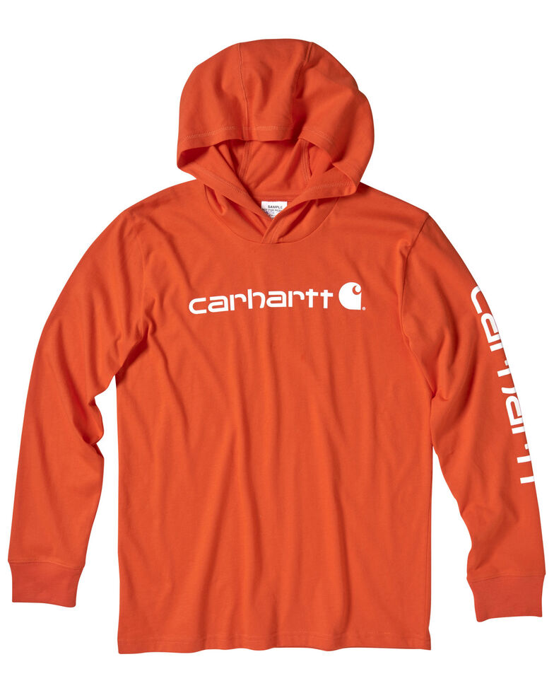 Carhartt Youth Boys' Orange Logo Sleeve Hooded Sweatshirt , Dark Orange, hi-res