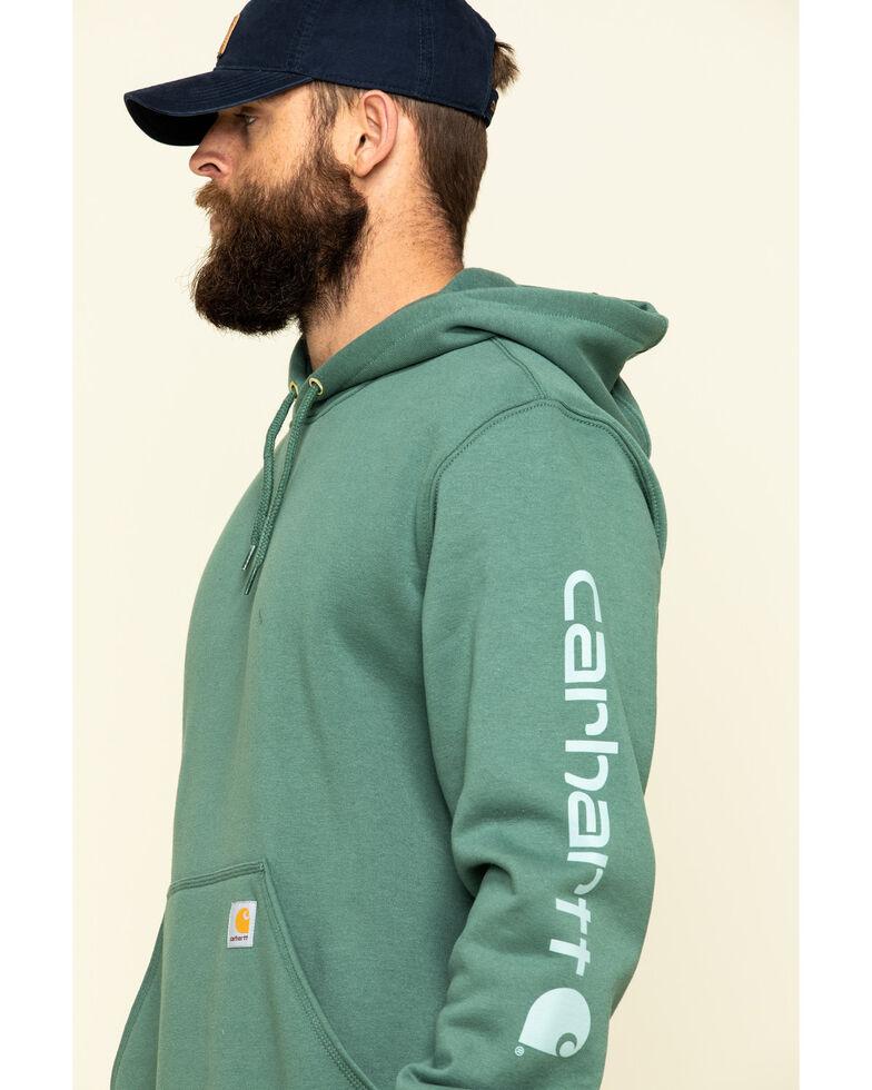 Carhartt Men's Olive Midweight Signature Sleeve Logo Hooded Work Sweatshirt - Big , , hi-res