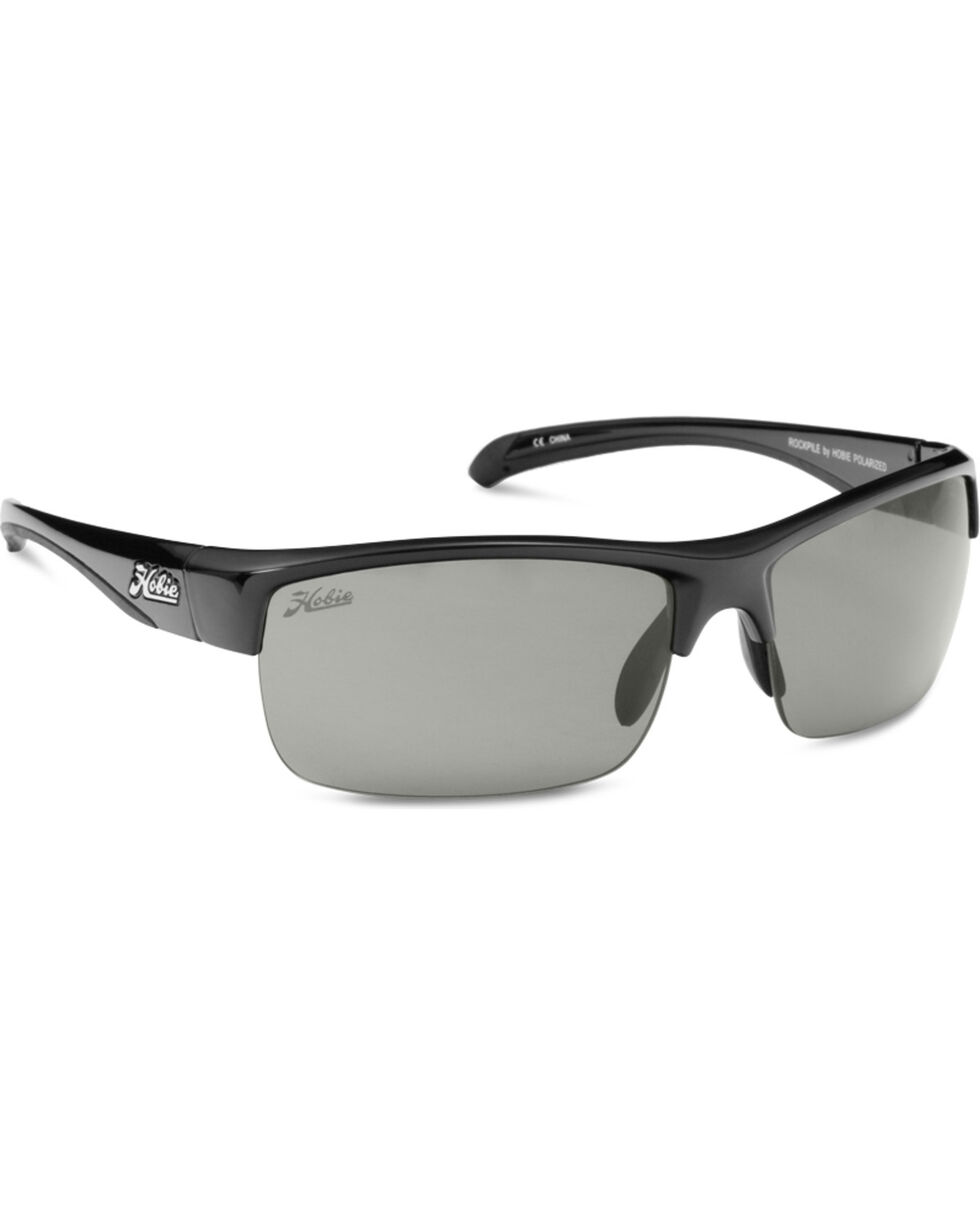 Hobie Men's Shiny Black Grey Rockpile Polarized Sunglasses , Black, hi-res