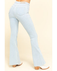"Cello Women's Light Wash Pinstripe High Rise 34"" Flare Jeans, Blue, hi-res"