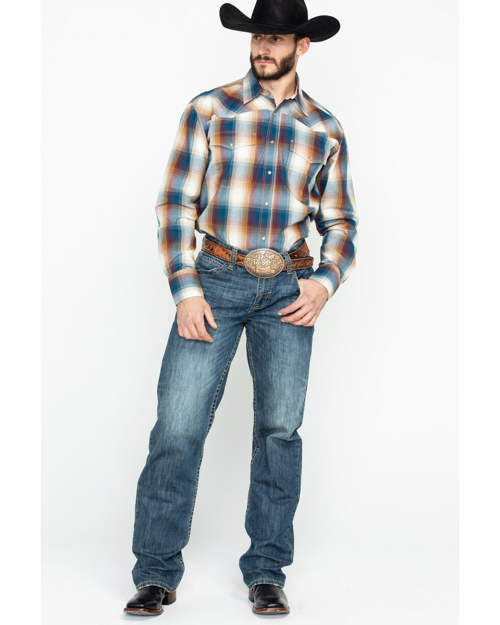 Roper Men's Large Plaid Snap Long Sleeve Western Shirt , Blue, hi-res
