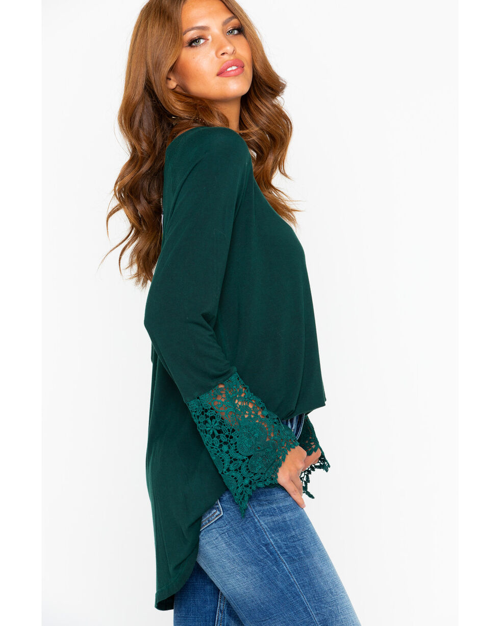 Cowgirl Up Women's Marble Washed Lace Cuff Top, Green, hi-res