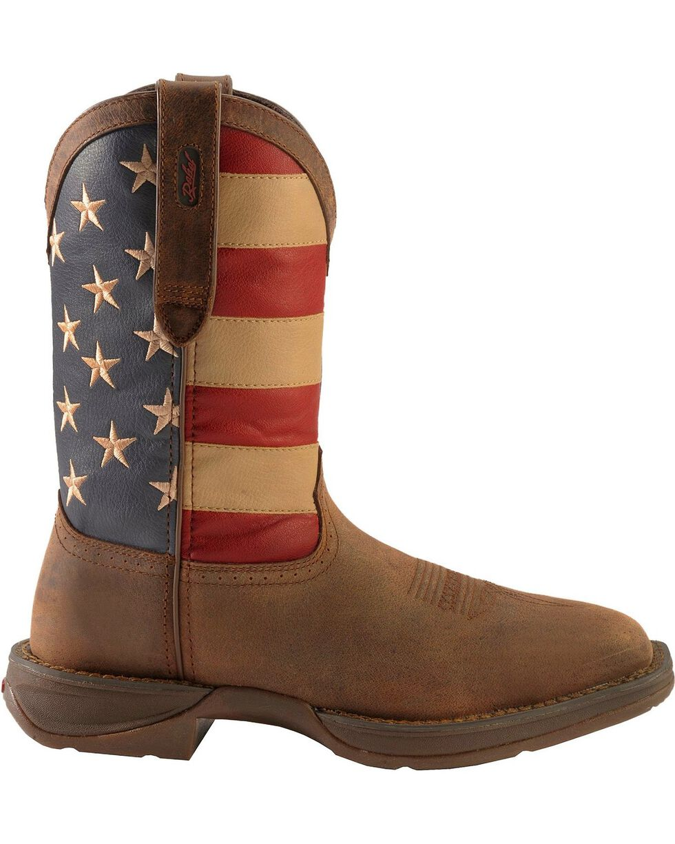 Rebel by Durango Men's Steel Toe American Flag Western Work Boots, Brown, hi-res