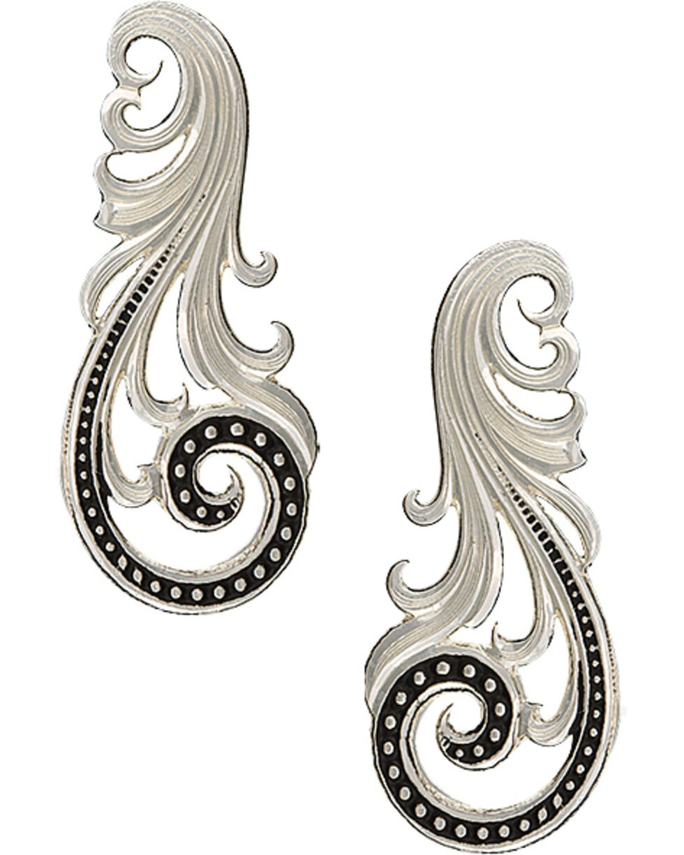 Montana Silversmiths Western Lace Whisper Earrings, Silver, hi-res
