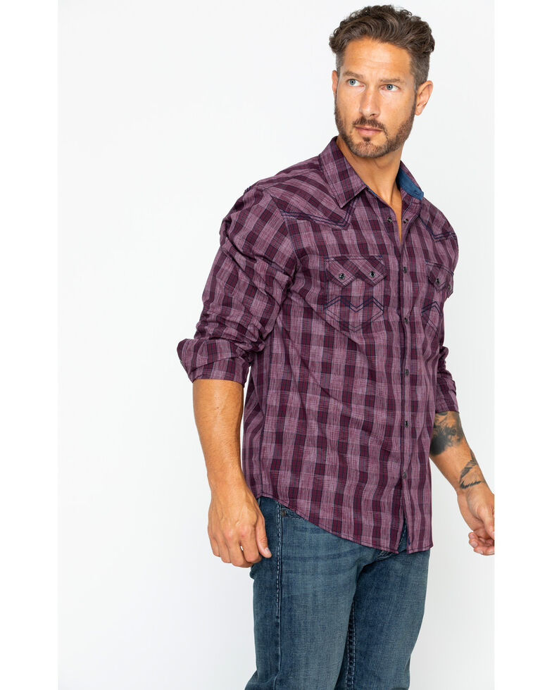Cody James Men's Chicken Wire Med Plaid Long Sleeve Western Shirt , Maroon, hi-res