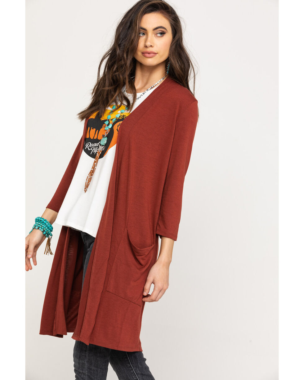 White Label by Panhandle Women's Rust Copper Long Sleeve Knit Duster , Rust Copper, hi-res
