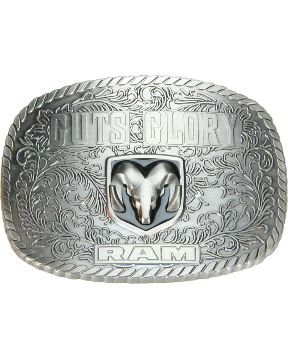 Western Express Men's Silver Guts Glory Ram Belt Buckle , Silver, hi-res