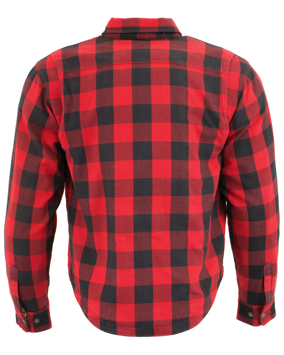 Milwaukee Performance Men's Black/Red Aramid Checkered Flannel Biker Shirt - Big & Tall, Black/red, hi-res