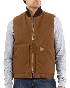 Carhartt Sandstone Work Vest, Brown, hi-res